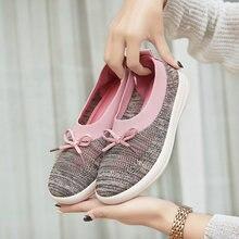 Spring Summer Weaving Leisure Shoes for Women Walking Mesh Slip on Loafer Flat Breathable Ladies Socks Size35-42