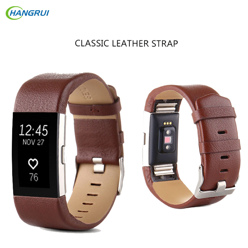 HANGRUI Soft Leather replacement Strap For original Fitbit Charge 2 band smart Wristband Bracelet Wearable Belt accessories