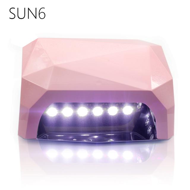 SUN6-AUTO Sensor UV LED Lámpara de Uñas Secador de Uñas de Diamante En Forma de 36 W Luz blanca 365nm + 405nm de Curado UV para Uñas de Gel Polish Art Herramientas
