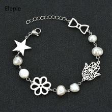 Eleple Hollow Fatimas Hand Stainless Steel Stars Bracelets Womens Imitation Pearl Bracelet Sweet Fashion Gift Jewelry S-B73