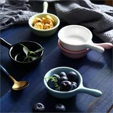 1pc 40ml Japanese-style Glazed Tableware Ceramic Handle Dish Kitchen Multi-purpose Snack Sauce Western Vinegar jam