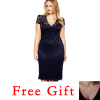 Lace Dress for Fat Female Plus Size Women Blue Sexy Deep V Neck Hollow Out Peplum Flower Tight Slim Midi Sheath Dress 40*!