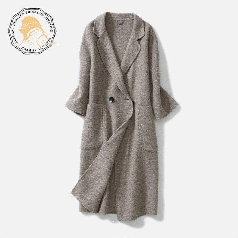 Manteau Face Solide Automne Manches 2018 Trois Gris Haute Femmes Long Double Office Nouveau 100 Hiver camel Qualité Laine Quarts Lady Lâche Iqw8rq