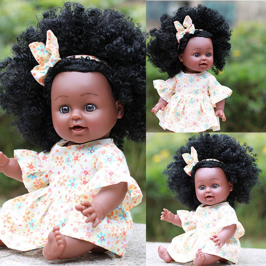 Skillful Knitting And Elegant Design Dolls Humorous Bebes Reborn Doll Black Girl Dolls Silicone African American Play Dolls Lifelike 35cm Baby Play Dolls Kids Playmate Gift T9# To Be Renowned Both At Home And Abroad For Exquisite Workmanship