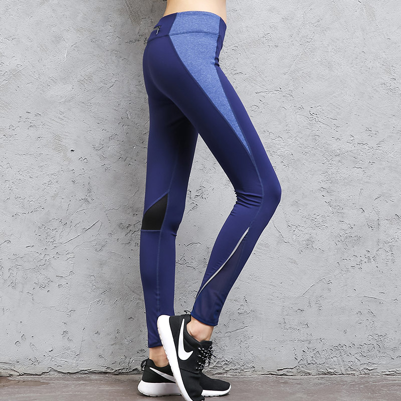 BESGO Females Mesh Patchwork Leggings Sports Pants Quick Dry Tights Slim Outdoor Zipper Pocket Workout Compression Yoga Trousers