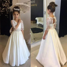 Vintage Long Flower Girl Dresses Ivory White Beaded Floor Length A-Line Half Sleeve First Communion Dress Birthday Gown