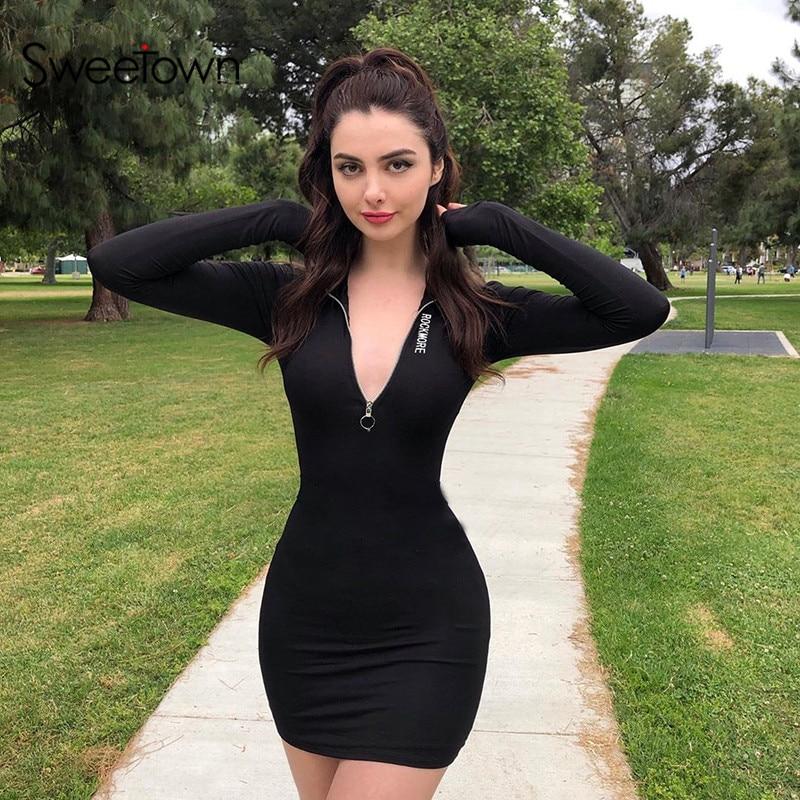 Sweetown Black Solid Basic Bodycon Dress Women Zipper Turtleneck Autumn 2019 Fashion Dresses Long Sleeve Skinny Winter Dress