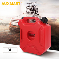 AUXMART 3L Fuel Tanks Plastic Petrol Cans Car Jerry Can Mount Motorcycle Jerrycan Gas Can Gasoline Oil Container fuel Canister