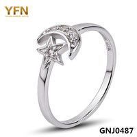 GNJ0487 New 925 Sterling Silver Moon And Star Jewelry AAA Cubic Zircon Wedding Band Ring For