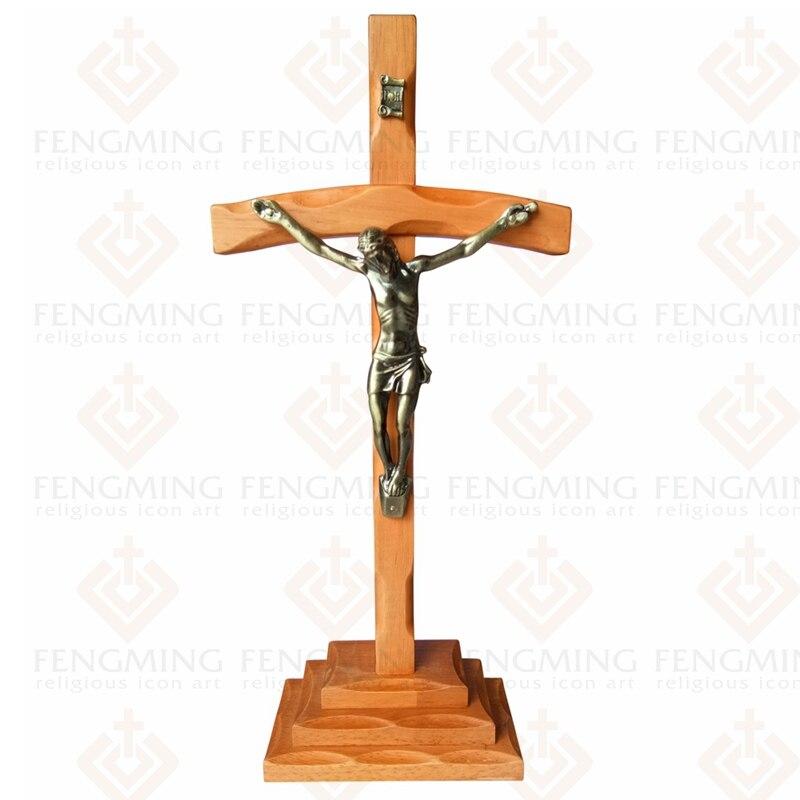 Classique catholique baptême religieux jésus christ bois table croix avec crucifix, 13.3 pouces orthodoxe icône décor à la maison