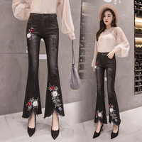 European Station Embroidered Flare Pants Embroidery Pantalones Mujer Flared High Waist Pants Trousers Women Calca Feminina