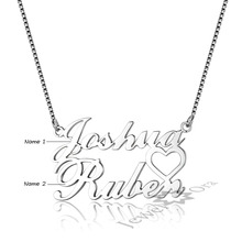 DIY Lovers Name Engrave Pendant Personalized 925 Sterling Silver Name Necklace