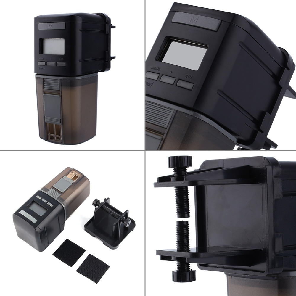 Aquarium fish tank auto food feeder lcd timer - Lcd Display Automatic Fish Feeder Aquarium Fish Food Automatic Timer Feeding Dispenser Adjustable Practical Output Auto