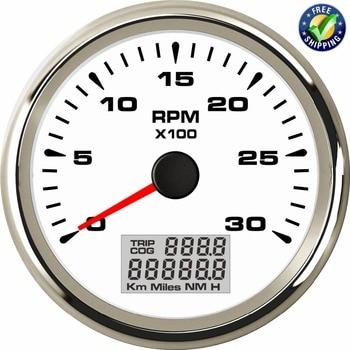 New Arrival Instrument Panel Tachometer Gauges 85mm 0-3000RPM Rev Counters Tach 316L Bezel Revolution Meters for Auto Ship