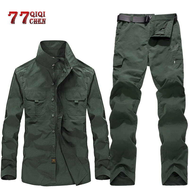 2 Pcs Sets Military Uniform Summer Quick Drying Shirts+Cargo Pants Waterproof Army Combat Suit 2019 Tactical Work Hunt Clothing