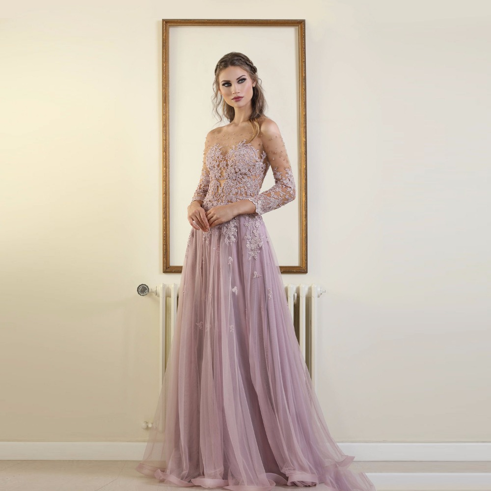 Lilac   Evening     Dresses   2019 A-line 3/4 Sleeves Tulle Appliques Lace Beaded Islamic Dubai Kaftan Saudi Arabic Long   Evening   Gown