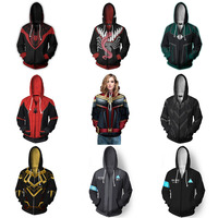 Spiderman Cosplay Hoodies Captain Marvel Costume Superhero 3D Print Hoodies Streetwear Halloween Casual Pullover Zipper Jacket