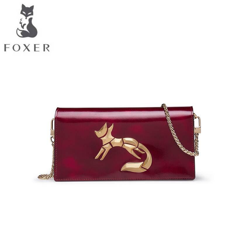 FOXER2018 high-quality fashion luxury brand new female retro handbag rub color Shoulder Messenger bag fashion chain mini small s