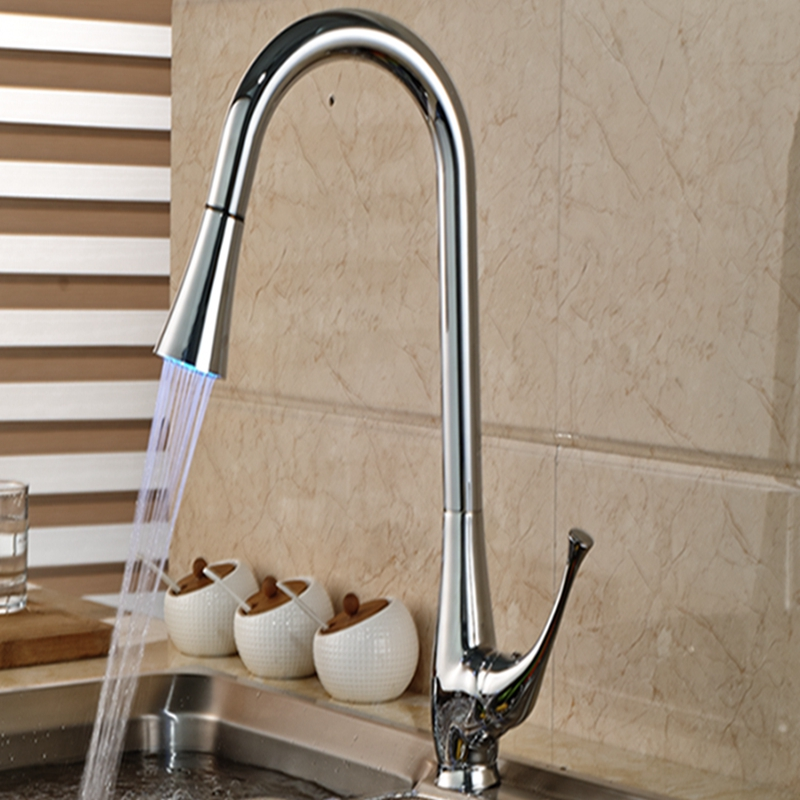 Wholesale And Retail Promotion Modern Swivel Spout Kitchen Faucet Chrome Brass Vessel Sink Mixer Tap Pull Out Sprayer good quality wholesale and retail chrome finished pull out spring thermostatic kitchen faucet swivel spout vessel sink mixer tap