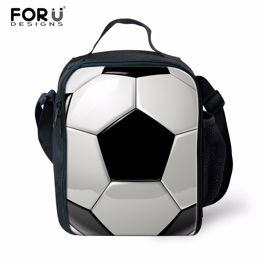 FORUDESIGNS Women Men Travel Thermal Food Picnic Lunch Bags Footballs Thicken Lunch Box For Student School Lunchbox Cooler Bag