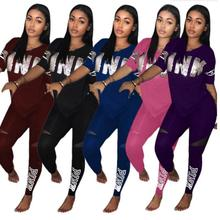 Pink Letter Print Tracksuits Women Two Piece Set 2018 Spring Street t shirt Tops and Jogger