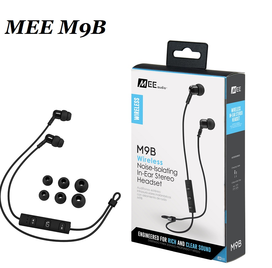 ФОТО 2017 MEE audio M9B Wireless Noise Isolating In Ear Stereo Headset Bluetooth Earphones HiFi Sports earphones With Mic PK PB2.0
