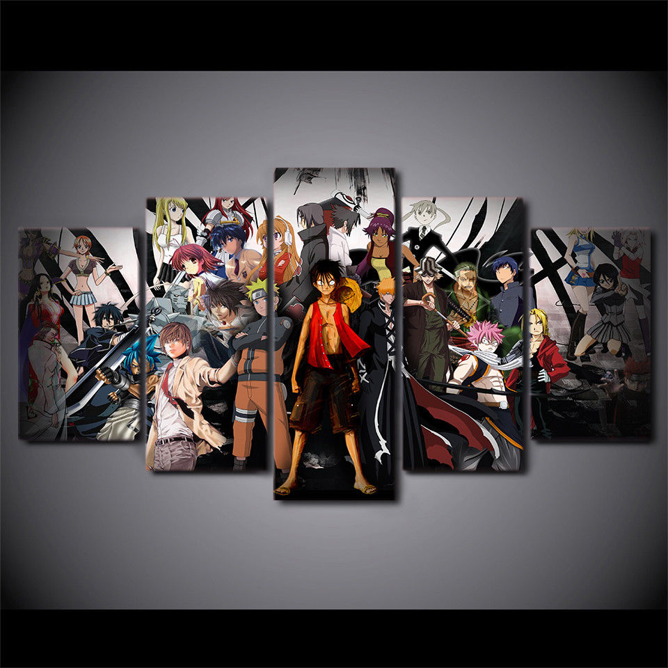Wall Decor 5 Pieces One Piece Naruto Poster Canvas Print