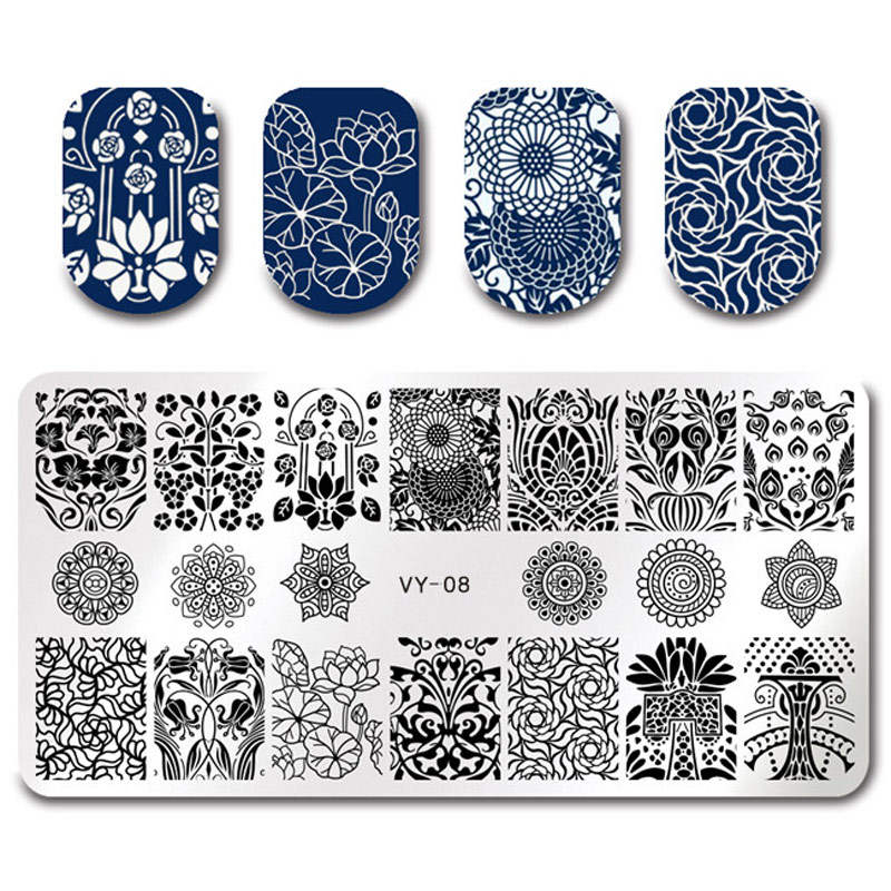 Pandox Plus Wave Design Nail Stamping Plate Animal Plant Tribe Flower Design Nail Art Stamp Template Stencil Nail Image Plate