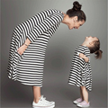 Striped mother daughter dresses with pocket summer mommy and me clothes family look girl and mother matching outfits promotion
