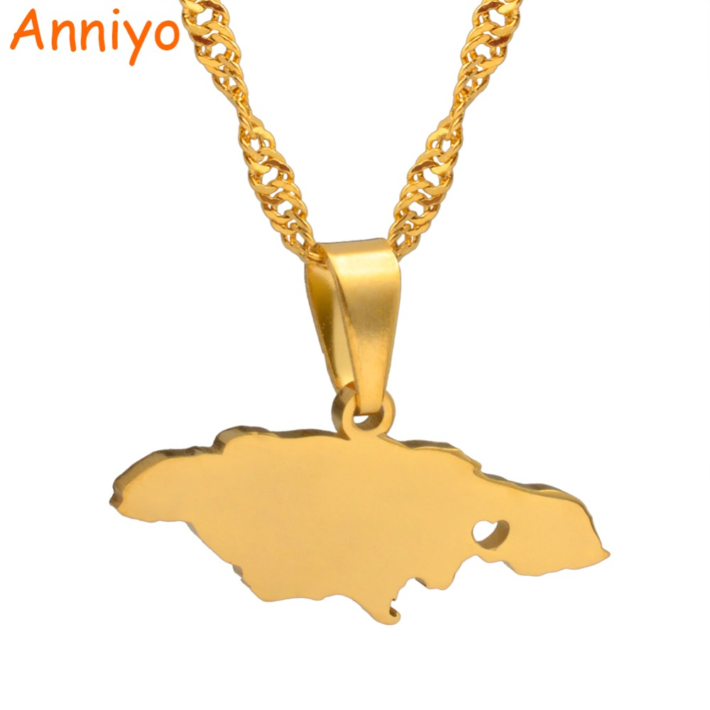 Anniyo Heart Jamaica Map Pendant Necklaces for Women/Girl Gold Color Jewelry Jamaican Patriotic Gifts #024621 anniyo qatar necklace and pendant for women girls silver color stainless steel gold color ethnic jewelry gifts 027621