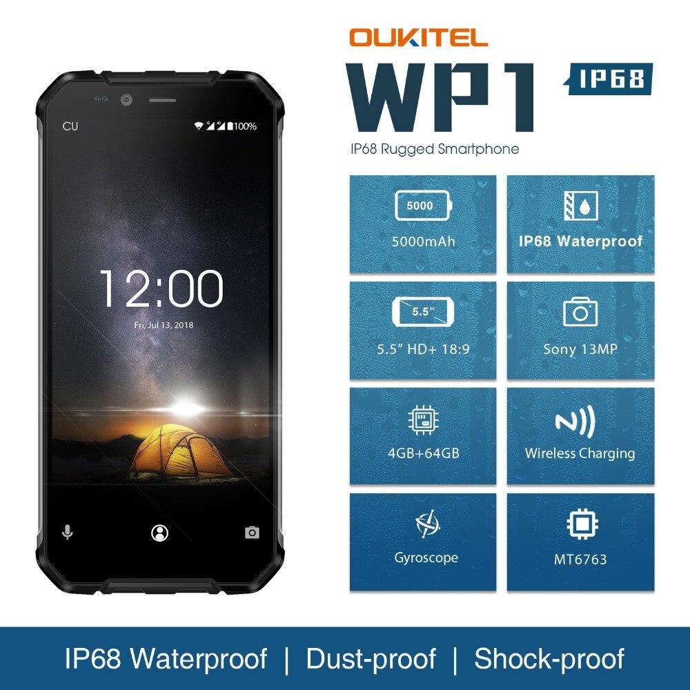OUKITEL WP1 IP68 Étanche Android 8.1 Smartphone 5.5 ''FHD Octa Core 4 gb RAM 64 gb ROM Sans Fil De Charge double SIM Mobile Téléphone