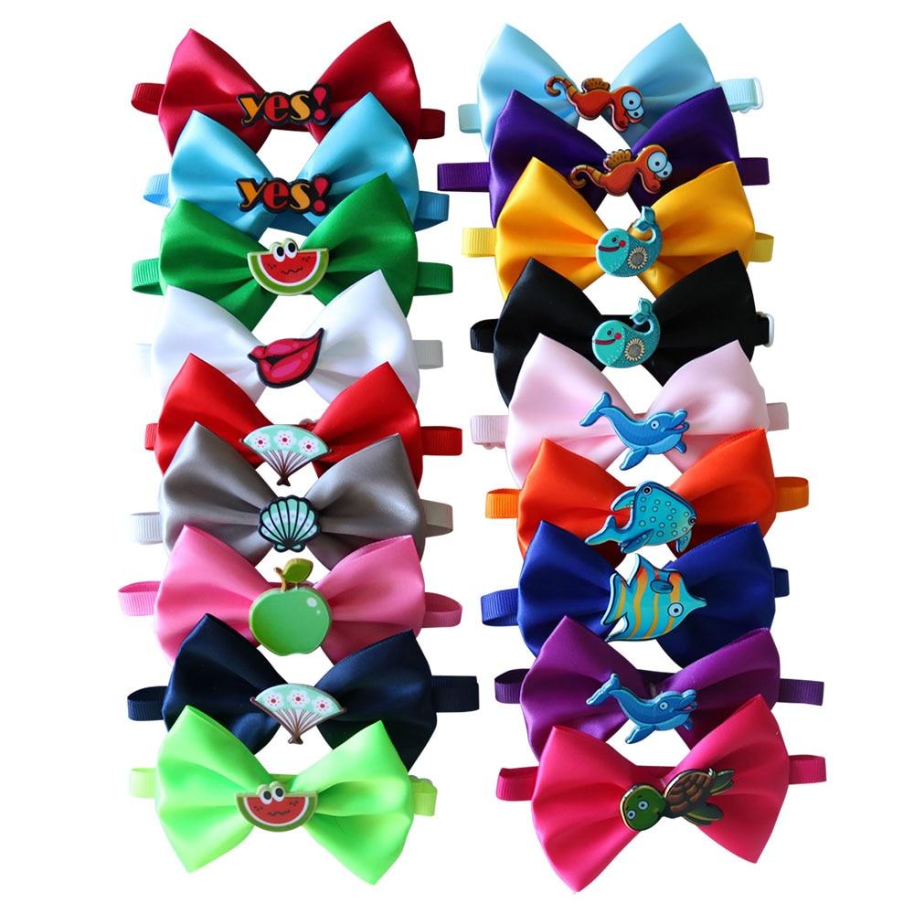 Hot 50pcs 18 colours Cat Dog Bow Ties Solid Adjustable font b Pet b font Dog