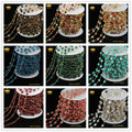 5Meter/lot Mix Faceted Round Stone Wire Wrapped Beaded Rosary Chain Natural Stone Jewelry Chain for Handmade DIY Making JD095