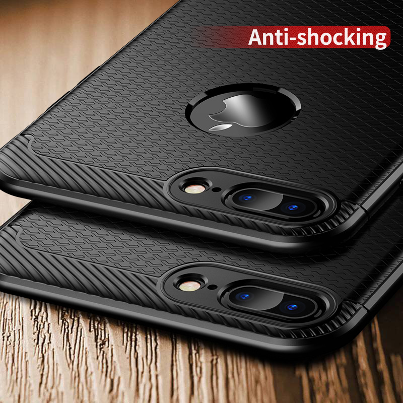 IPAKY For Iphone 7 Case Slim Litchi Leather Grained TPU Silicon Cover Case For Iphone 7 8 X Soft Silicone Shockproof Phone Cases in Fitted Cases from Cellphones Telecommunications