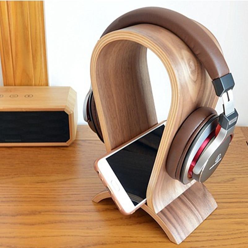Carbon Wooden Headphone Stand Headset Holder Hanger Universal Earbuds Bracket Display Hanger for All Headphones-in Coat Racks from Furniture