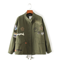 Korean Style Women Jacket Coat Spring Autumn Army Green Embroidery Patch Designs Rivet Loose Basic Jackets