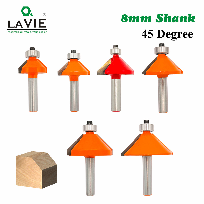 LA VIE 1pc 8mm Shank 45 Degree Chamfer Edge Forming Router Bit Bevel Flush Trim Bit Woodworking Milling Cutter Bits MC02021