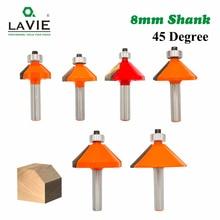 LA VIE 1pc 8mm Shank 45 Degree Chamfer Edge Forming Router Bit Bevel Flush Trim Bit Woodworking Milling Cutter Bits MC02021