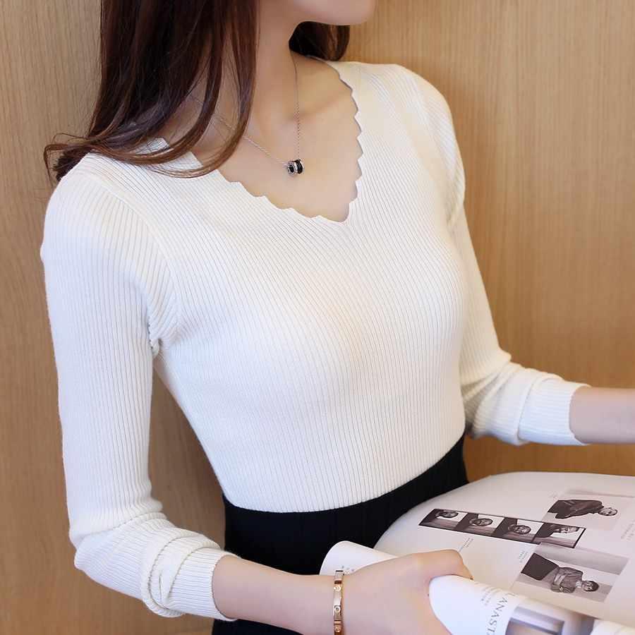 Сезон осень-зима; Для женщин одежда 2018 Новый плинтус с длинными рукавами вязаная рубашка с v-образным вырезом и эластичность Короткий тонкий черный свитер