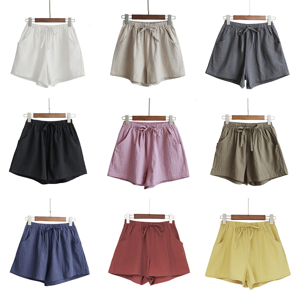 HTB1ZvZHba5s3KVjSZFNq6AD3FXae - Women Female Casual Solid Color Cotton Linen Shorts Ladies Summer High Waist Loose Elastic Drawstring Club Holiday Short Pants
