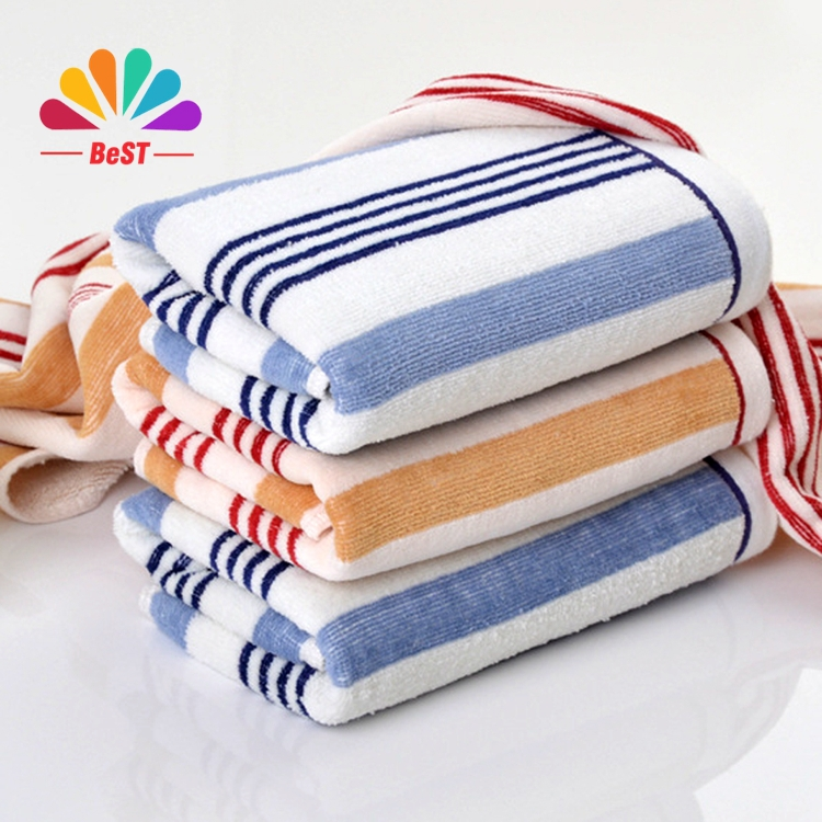 New Striped Face Towel 100% Cotton Microfiber Terry Hand