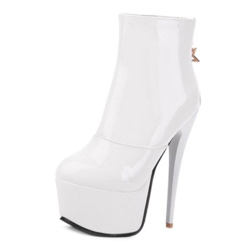 Mode Avec Cuir Taille Noir blanc Cheville Bottes En Chaussures Grande Sjjh Q500 Peluche Plate Zip De Sexy rouge Ronde À Stiletto Femmes Court forme Verni nk08PwO