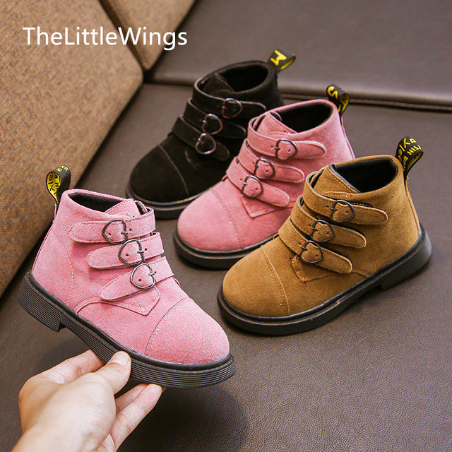 2018 new girls Martin boots children autumn winter boys cotton short boots kids school shoes Korean version of the British style Girl's Shoes