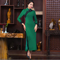 Vintage Bodycon  Women Green Chinese Traditional Dresses Lace  Long Cheongsam Qipao  Midi  Vestidos 813JY