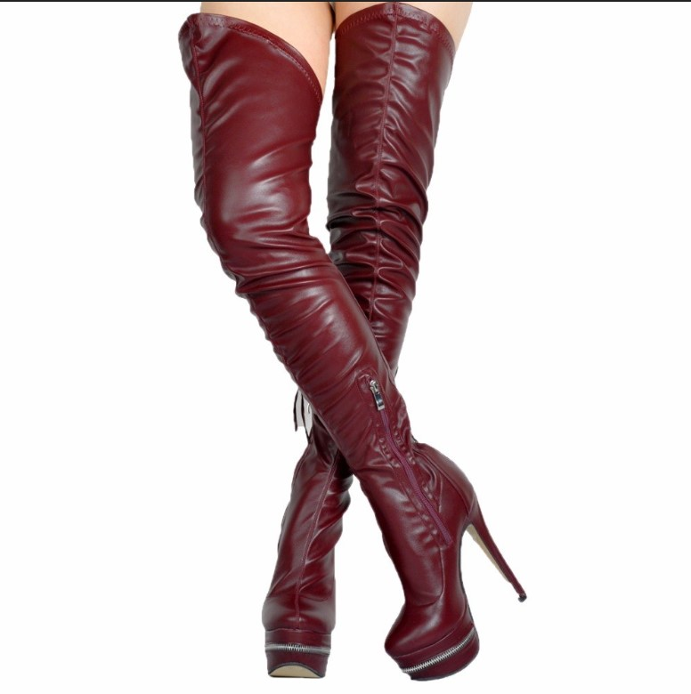 купить 2018 red White Black Brown Over The Knee boots for Women platform super high heel Thigh High Boots zapper decor lace up booties недорого