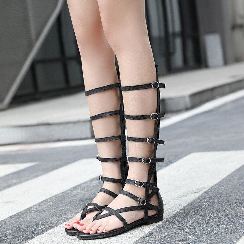 Vintage Pu cuir plat tongs pour femmes dames décontracté plat Rome chaussures d'été haut Top découpes gladiateur sandales pour femmes - 5