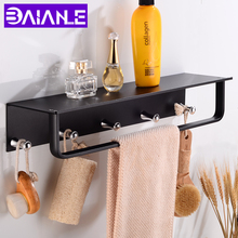 цена Bathroom Shelf Corner Aluminum Bathroom Shelves Shower Storage Rack with 5 Hooks Wall Mounted Single Towel Bar Holder Black онлайн в 2017 году