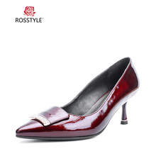 Купить с кэшбэком ROSSTYLE Fashion Shallow Pointed Toe Spring Autumn Single Shoes Crystal Metal Decoration Shoes Women Party Wedding Shoes X23
