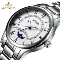 AESOP Watch Men Moon Phase Quartz Wristwatch Stainless Steel Male Clock Wrist Waterproof Relogio Masculino Hodinky