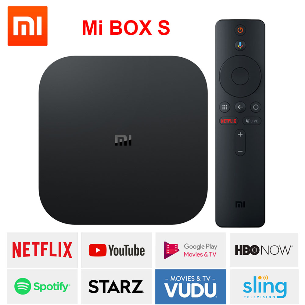 xiaomi mi box s, smart tv box android 8.1, 4K HDR Quad Core 2G 8G WIFI Google Cast Netflix IPTV Set top Box 4 Media Player